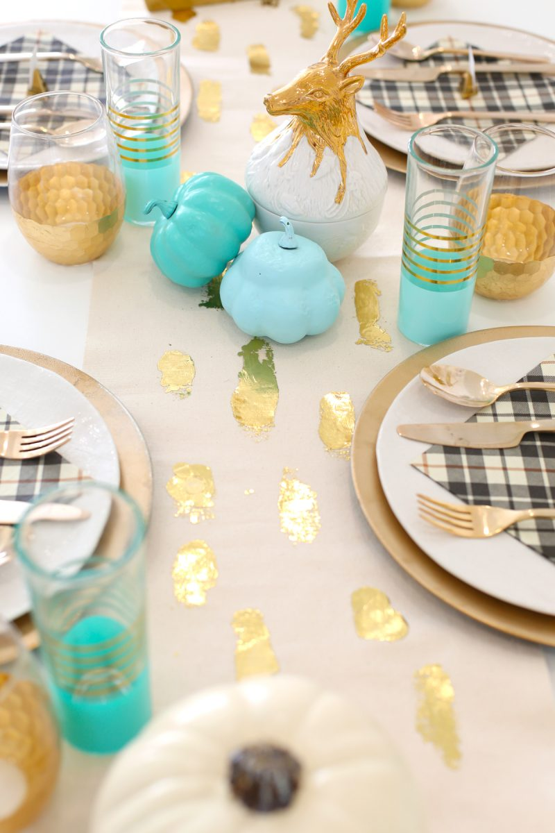 Gold Foil Brushstroke Table Runner