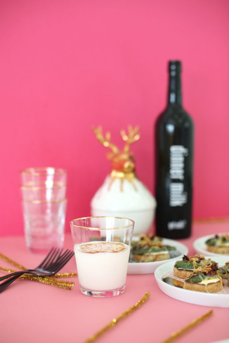 Jalapeno Popper Crostini with Spiced Milk Shots