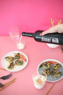 Jalapeno Popper Crostini with Spiced Milk Shots