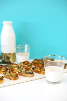 Jalapeño Popper Crostini with Spiced Milk Shots