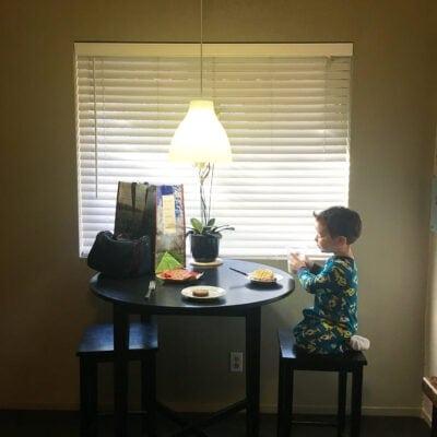 Boy eating a waffle