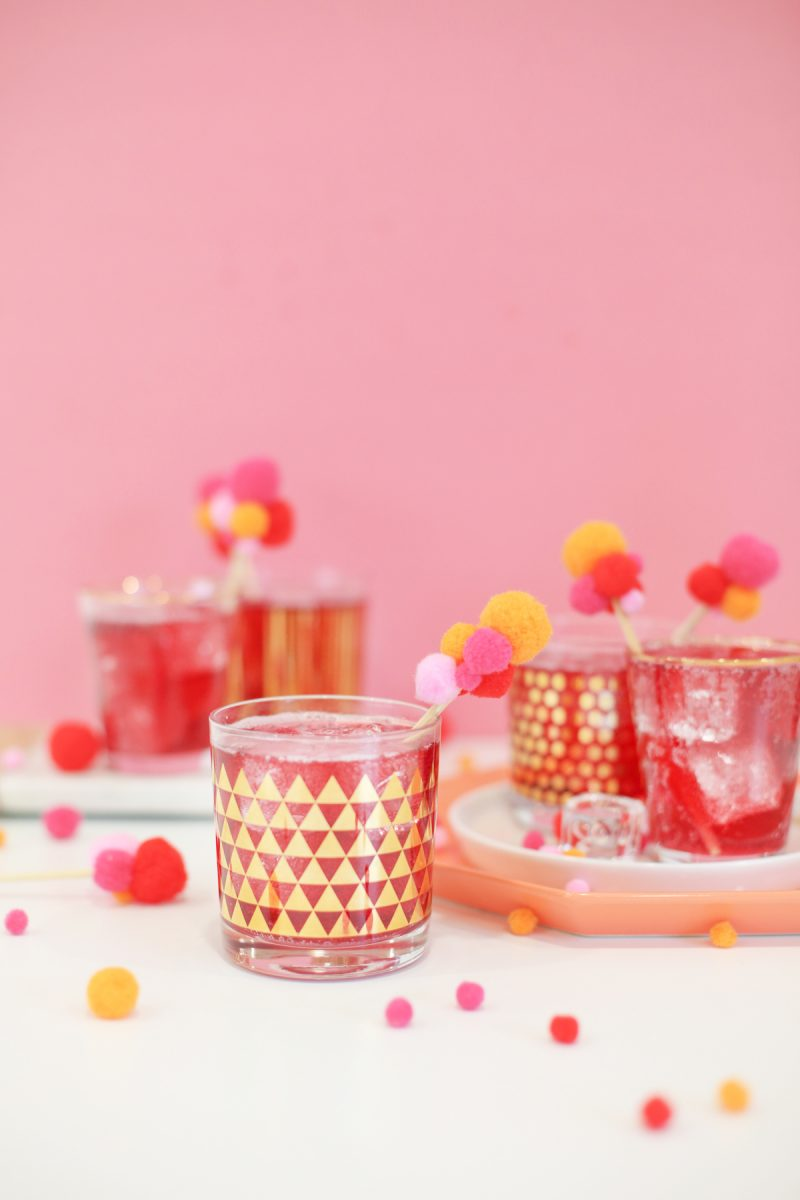 DIY Pompom Drink Stirrers