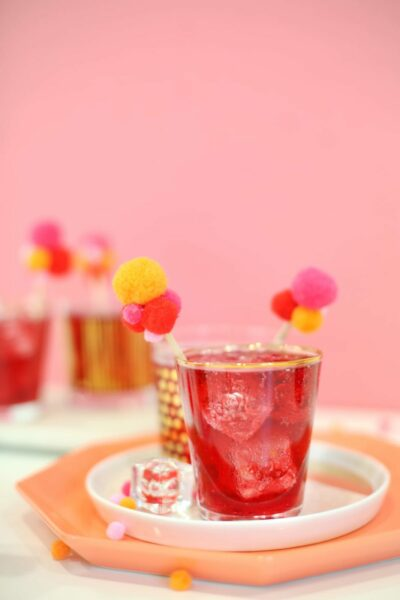 DIY Pompom Drink Stirrers