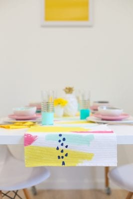 DIY Abstract Painted Table Runner