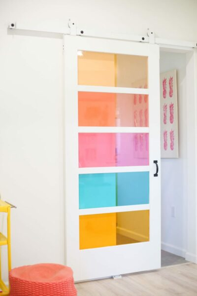 DIY Faux Stained Glass Sliding Barn Door