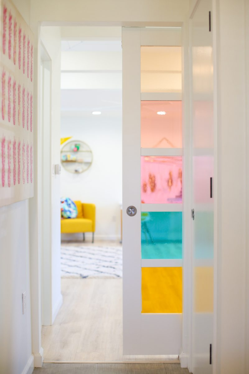 DIY Faux Stained Glass Sliding Barn Door | Lovely Indeed