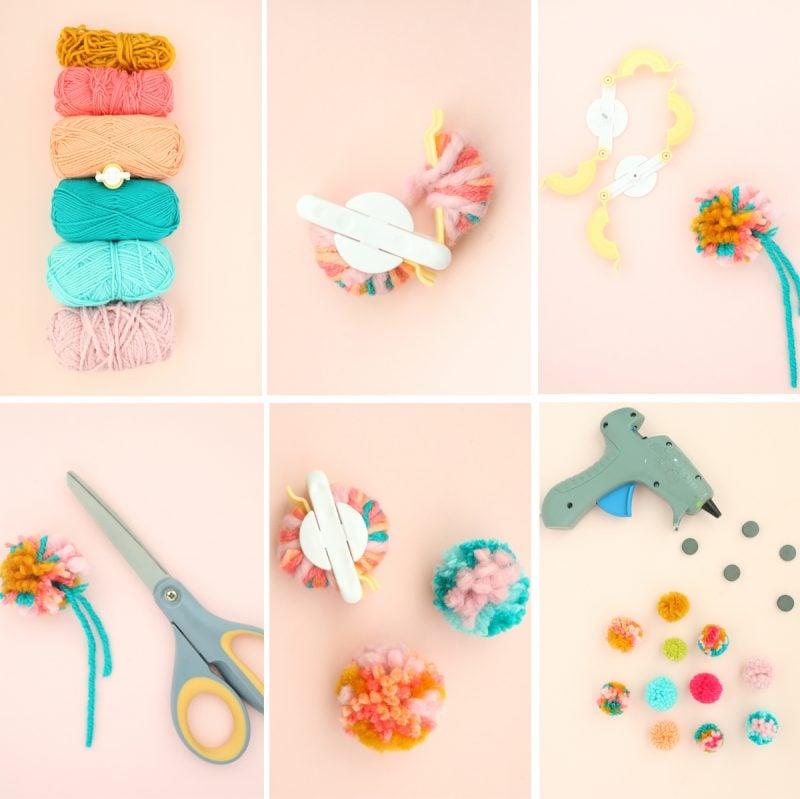 DIY Fluffy Yarn Pom Pom Magnets