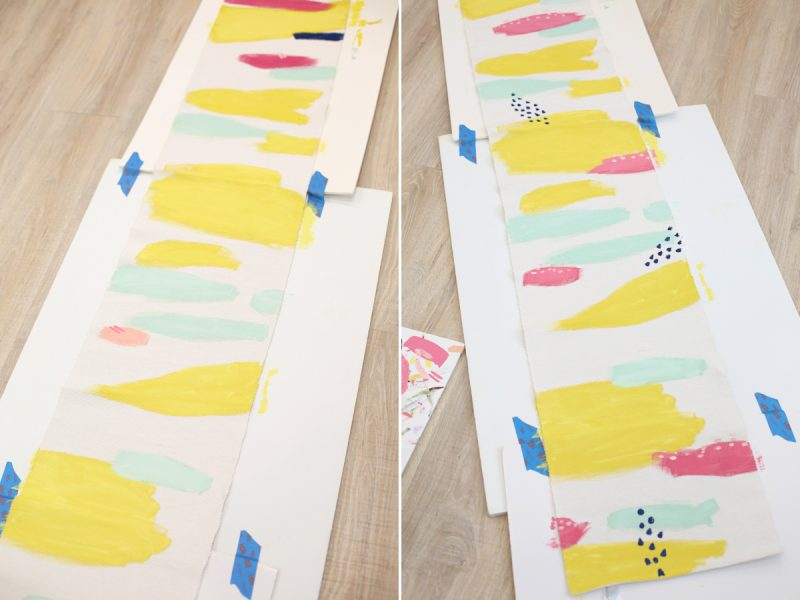 DIY Abstract Painted Table Runner tutorial