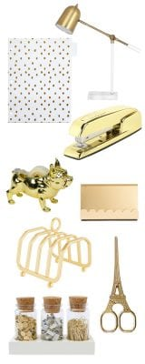 Gold desk supplies