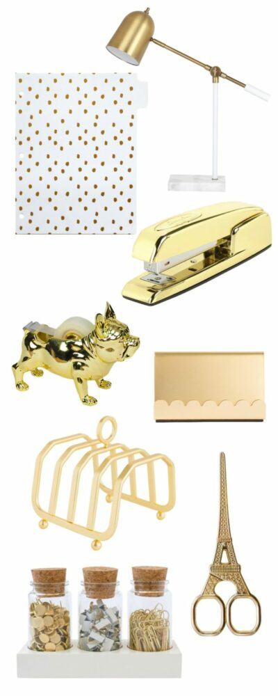 Gold desk supplies