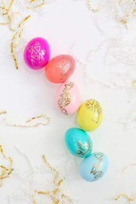 DIY Gold Geometric Easter Eggs
