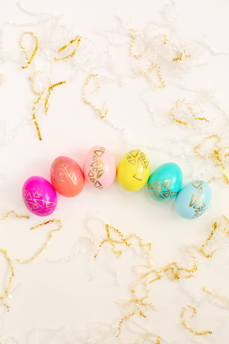 DIY Gold Geometric Easter Eggs