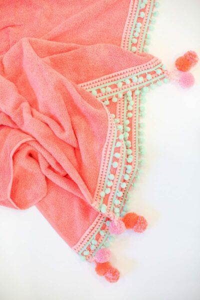 DIY Pompom Trim Beach Towel
