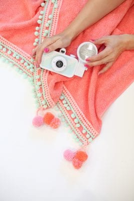 DIY Pompom Trim Beach Towel