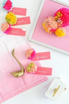 DIY Pompom Acrylic Place Cards