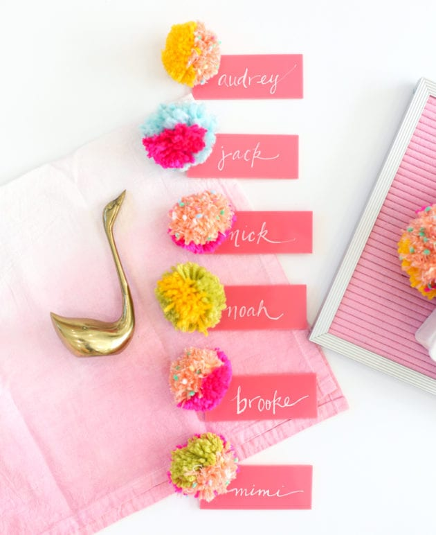DIY Pompom + Acrylic Place Cards thumbnail