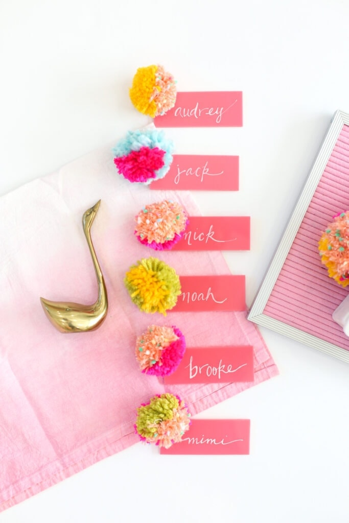 DIY Pompom Acrylic Place Cards