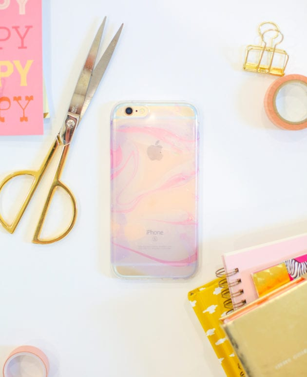 DIY Nail Polish Marbled Cell Phone Case thumbnail