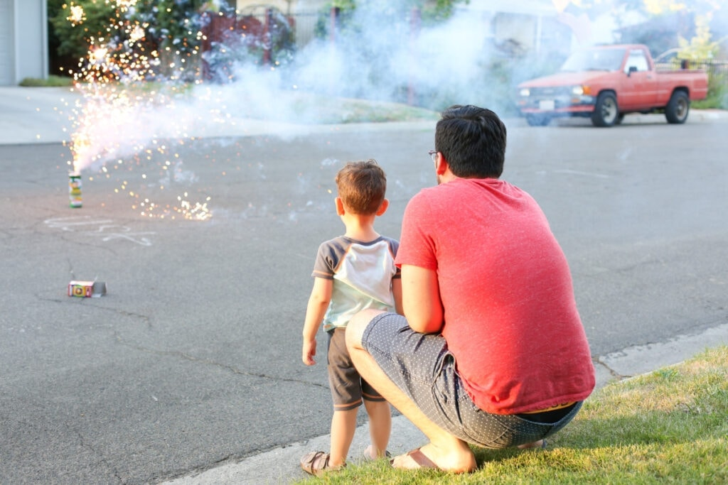 Boy watching fireworks