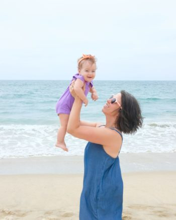Baby and mom at the beach