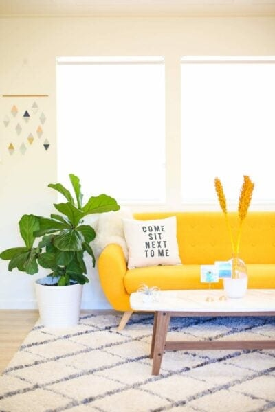 Home decor with yellow couch