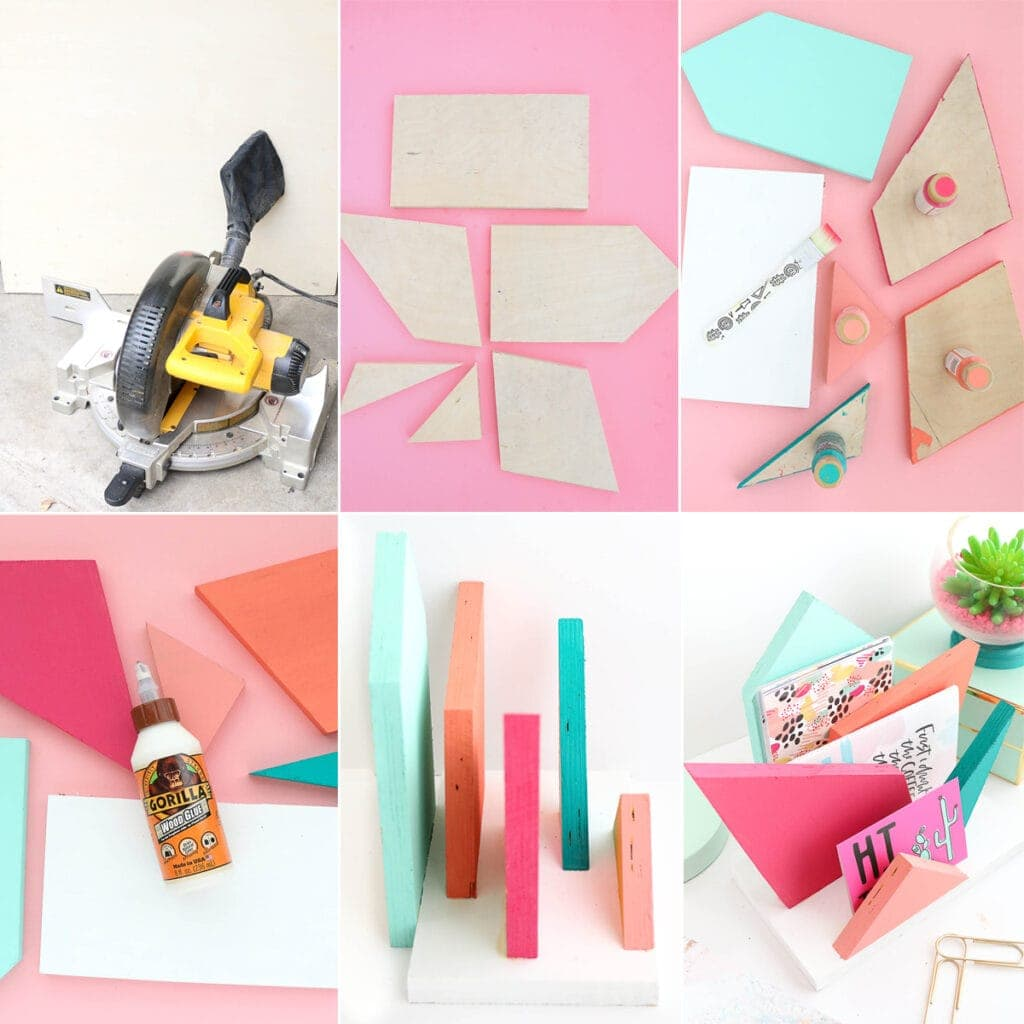 DIY Colorful Geometric Desk Organizer