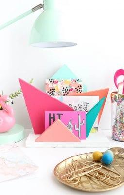 DIY Colorful Geometric Desk Organizer