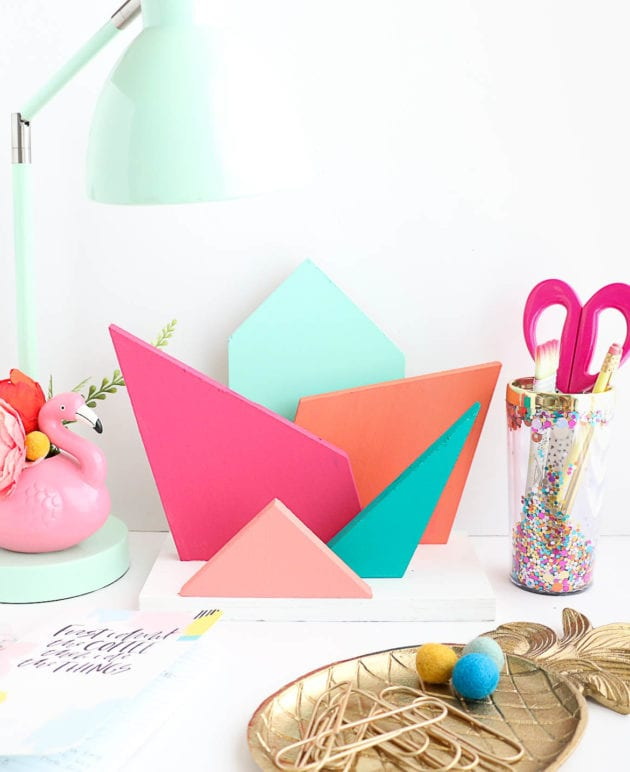 DIY Colorful Geometric Desk Organizer thumbnail