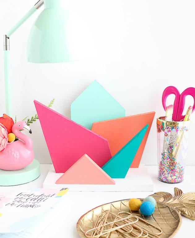 DIY Colorful Geometric Desk Organizer thumbnail