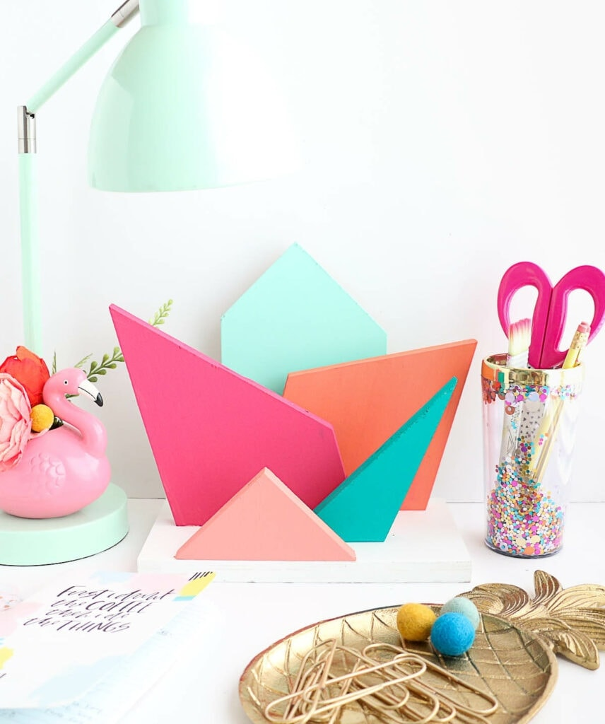 DIY Colorful Geometric Desk Organizer-5
