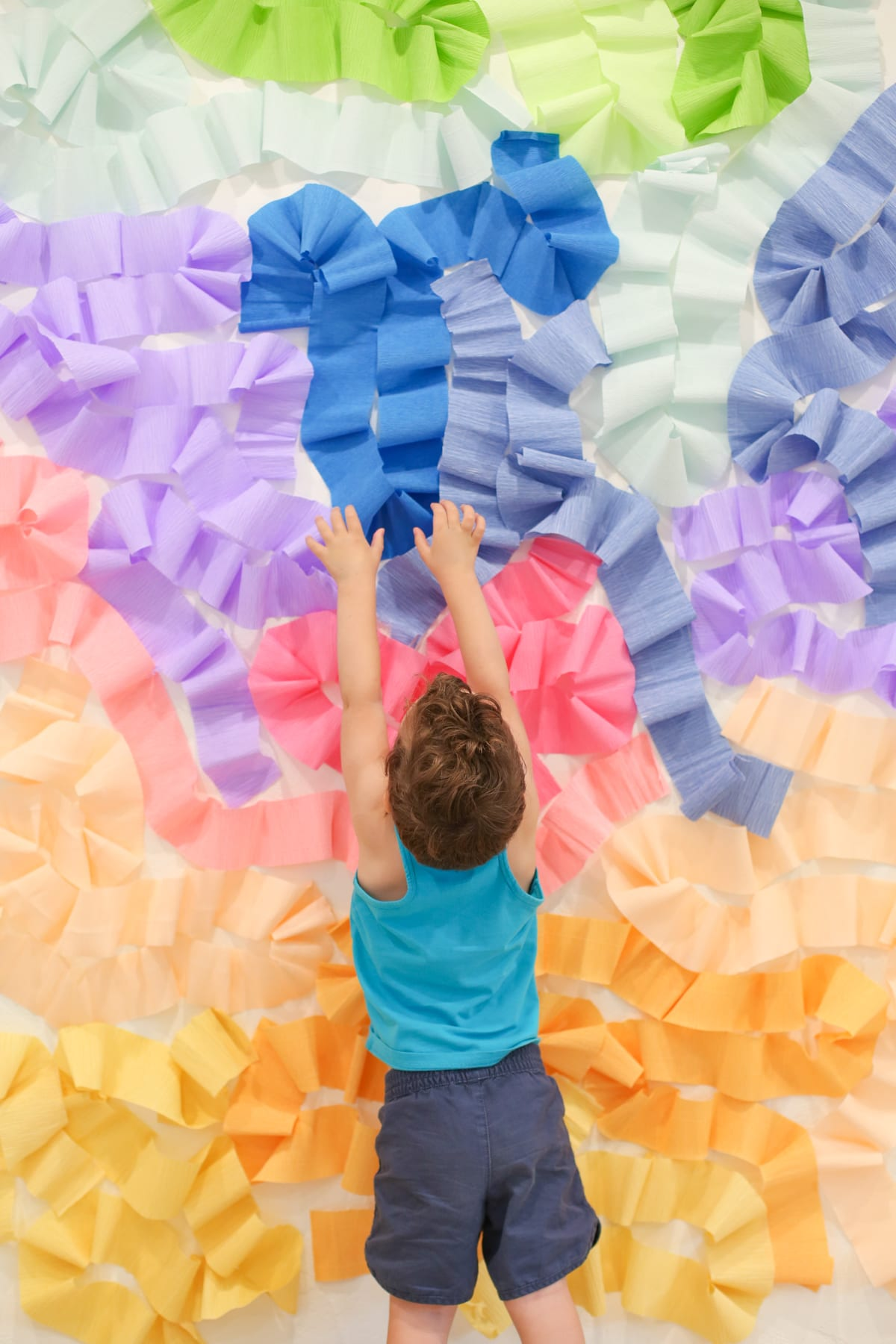 DIY Crepe Paper Wall Photo Backdrop