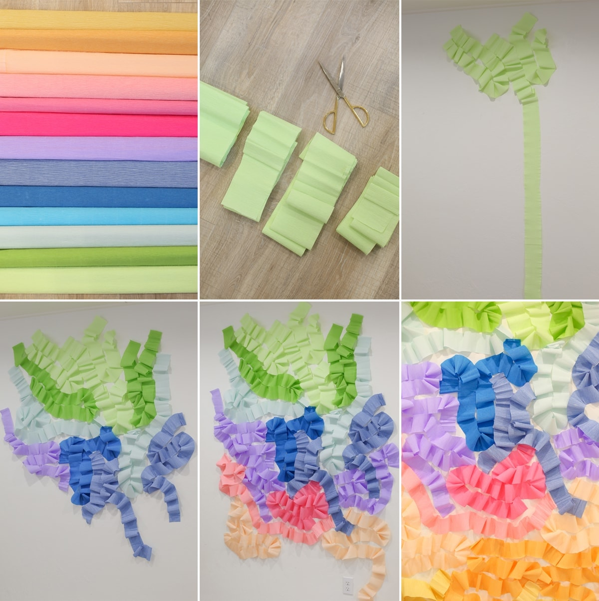 Diy crepe paper wall photo backdrop for Wall to wall paper