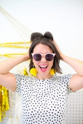 yellow pompom earrings