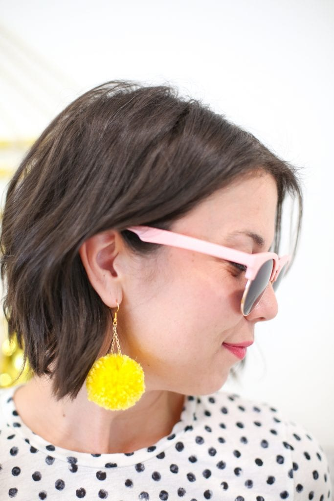 yellow pompom earrings