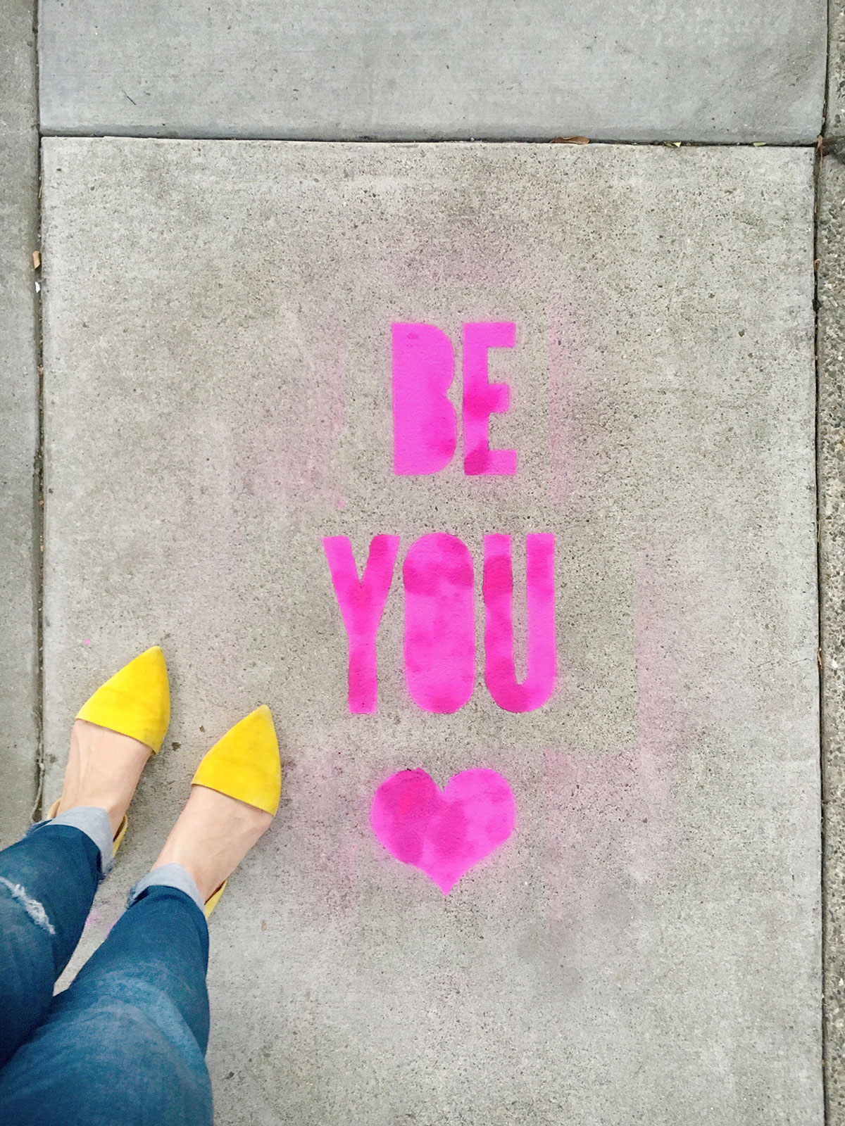 DIY Stencil Spray Chalk Sidewalk Messages