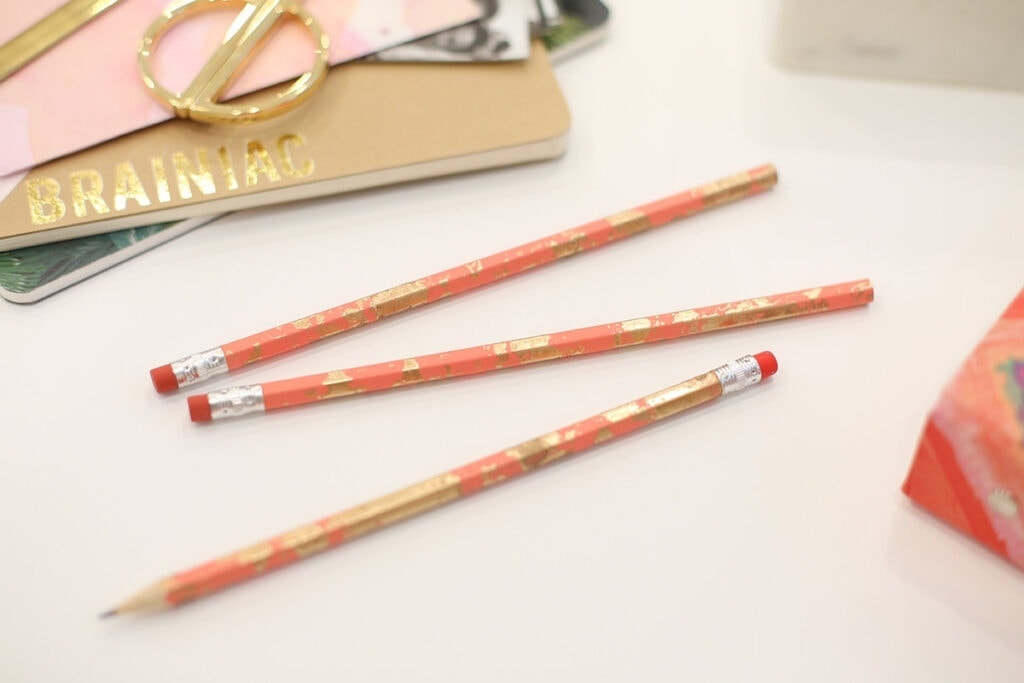 DIY Gold Marbled Pencils