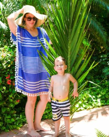 Mom and Son with Palm Trees