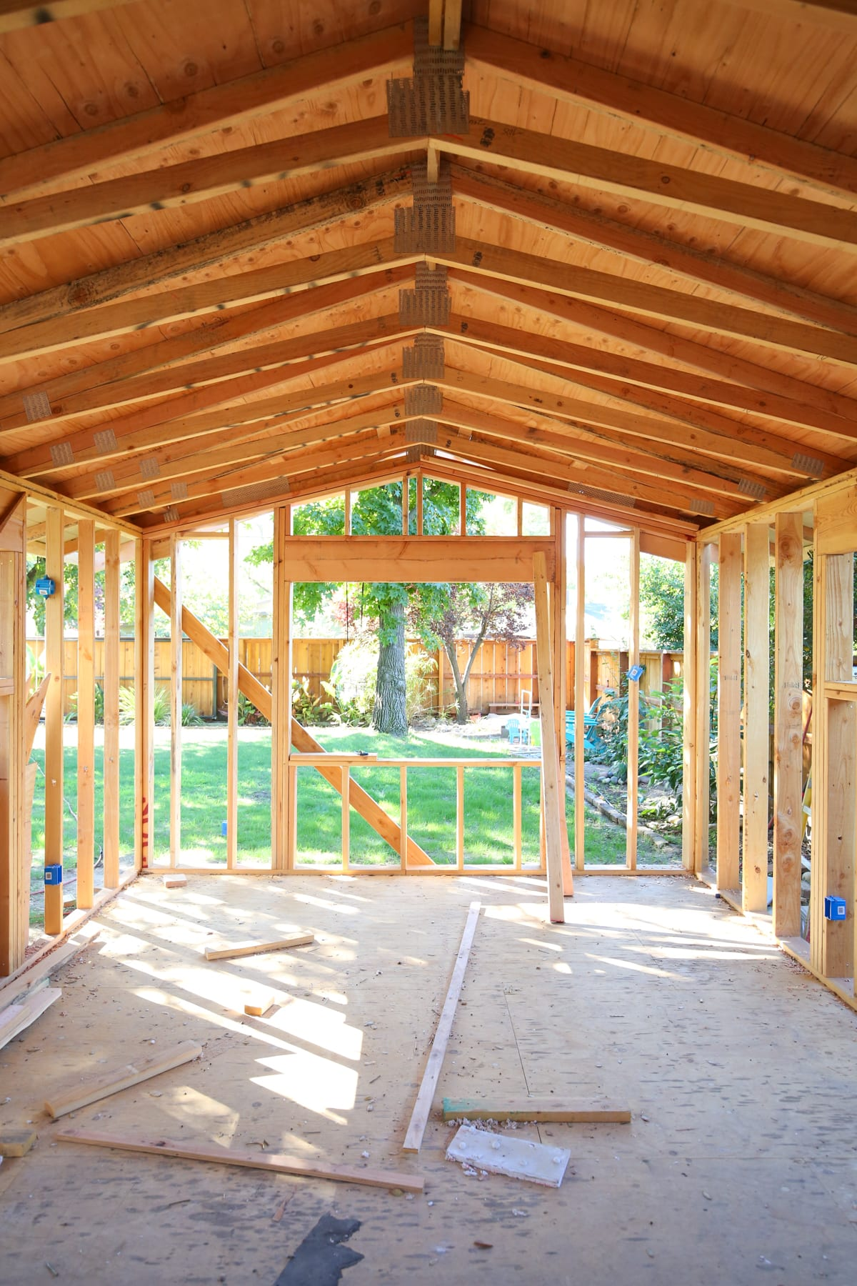 Trusses in a framed master bedroom