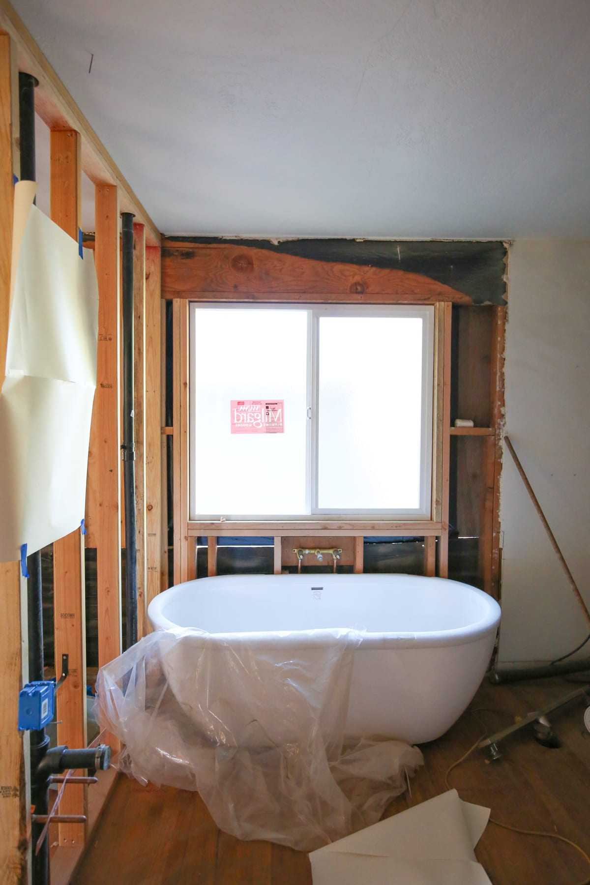 Construction in a master bathroom