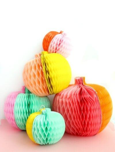DIY Colorblocked Honeycomb Pumpkins