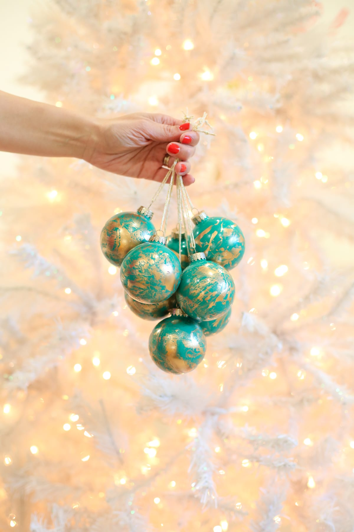 how to make gold marbled christmas ornaments - Teal And Gold Christmas Decorations