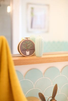 Light and airy kids' and guest bathroom