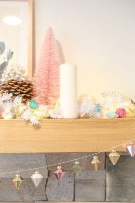 Quick and easy DIY Christmas ornament garland for your mantel