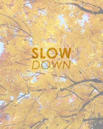 Practicing the art of slowing down