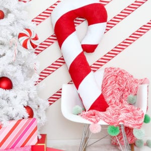 Make a Festive Giant Candy Cane Pillow for Christmas thumbnail