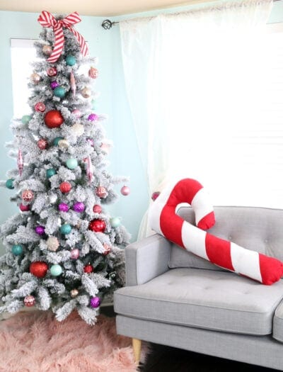 DIY Large Candy Cane Pillow