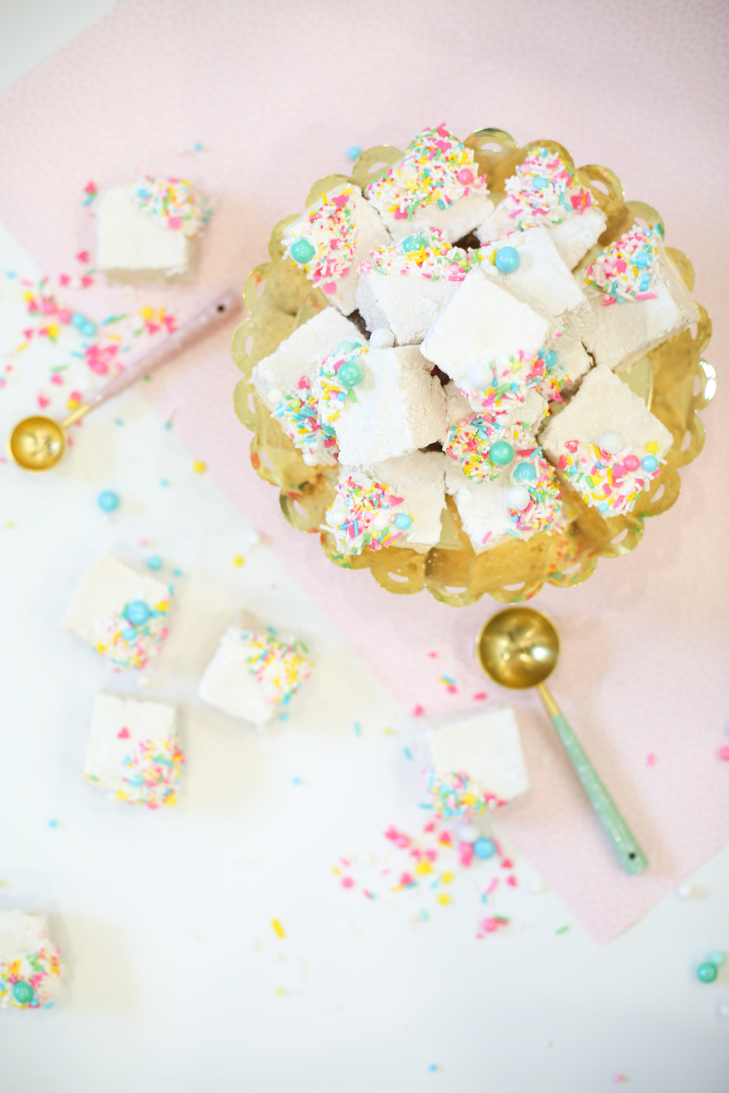 Homemade vanilla marshmallows with sprinkles