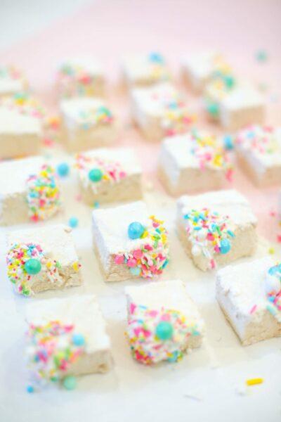 Homemade vanilla marshmallows with sprinkles