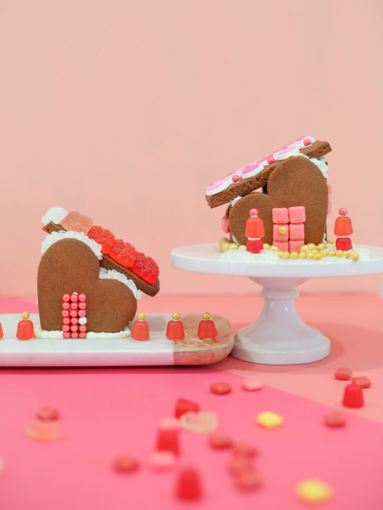 Gingerbread Heart Houses for Valentine's Day