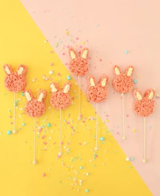 The Only Treat You Need to Make This Easter: Pink Bunny Rice Krispies Pops